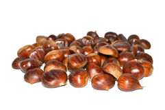 Chestnut pictures. With natural crust and without crust Stock Photo