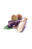 Chestnut's flour. Farina di castagne on white background Stock Photos