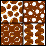 Chestnut Seamless Patterns Set Royalty Free Stock Photography