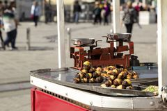 Chestnut seller. In the street - Istanbul/Turkey royalty free stock photo