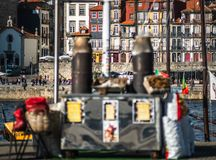 Chestnut seller oldfaschioned in the street of porto. Portugal royalty free stock photo
