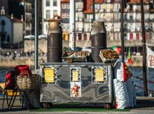 Chestnut seller oldfaschioned in the street of porto. Portugal royalty free stock photos