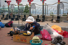 Chestnut seller, Sokkuram Grotto, Korean Republic Stock Images