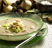 Chestnut soup. With savoy cabbage stock images