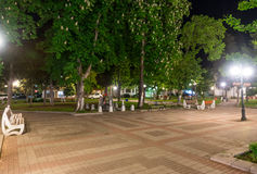 Chestnut square in the center of the night city of Pomorie in Bulgaria royalty free stock photos