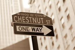 Chestnut street sign. Famous historic Chestnut street in Center City district of Philadelphia, PA royalty free stock photos