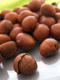 Chestnut texture background. A pile of baking chestnut on green background royalty free stock image