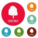 Chestnut tree icons circle set vector stock illustration