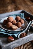 Chestnut truffles coated with cocoa powder. Delicious chestnut truffles coated with cocoa powder royalty free stock images