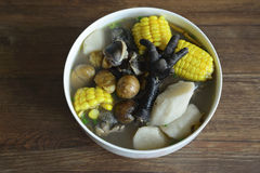 Chestnut yam corn chicken soup Stock Image
