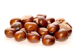Chestnuts. On the white background Royalty Free Stock Photography