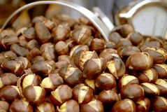 Chestnuts. Sold on a public market in Milano, Italy Royalty Free Stock Image