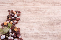 Chestnuts and acorns on wooden backgtound with space for own tex Stock Images