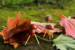 Chestnuts animals. Autumn children's fun Royalty Free Stock Image