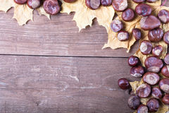 Chestnuts and autumn leaves on a old wooden table. Space for tex Royalty Free Stock Images