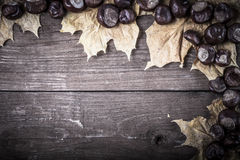 Chestnuts and autumn leaves on a old wooden table. Space for tex Royalty Free Stock Photos