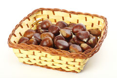 Chestnuts in basket Stock Photography