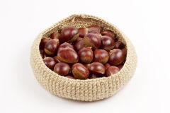 Chestnuts in the basket Royalty Free Stock Photos