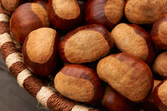 Chestnuts in a basket Stock Photos