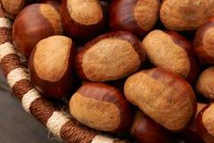 Chestnuts in a basket. Big chestnuts in a basket Stock Photos