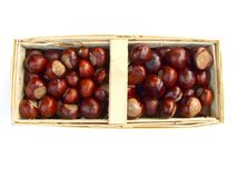 Chestnuts in a bastket Royalty Free Stock Image