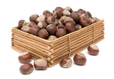 Chestnuts in a box on a white background Stock Image