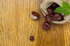 Chestnuts in burlap on wood textured Royalty Free Stock Photos