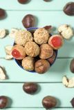 Chestnuts and Catalan panellets stock image