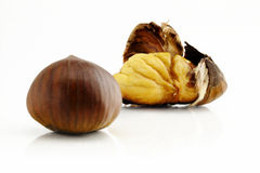 Chestnuts. Chestnut cooked with peel open Stock Photos