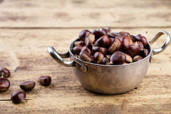 Chestnuts in Cooking Pot Royalty Free Stock Photography