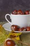 Chestnuts in a cup. And autumn leaves on the table Royalty Free Stock Photography