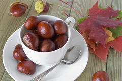 Chestnuts in a cup. And scattered on the table with autumn leaves Stock Photography