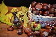 Chestnuts figure knight Stock Photo