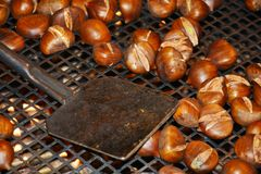 Chestnuts and fire background Stock Images