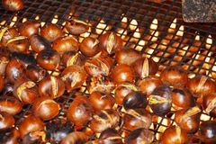 Chestnuts and fire, close up stock image