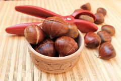 Chestnuts for grilling cut with a special knife Stock Photo