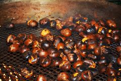 Chestnuts on ironed grill, background Stock Images