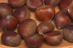 Chestnuts isolated on wooden background. Brown Stock Photo