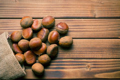 Chestnuts in jute bag Royalty Free Stock Image