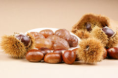 Chestnuts and marron glace. Over a light brown background Stock Image