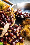 Chestnuts on an old board. Royalty Free Stock Photo