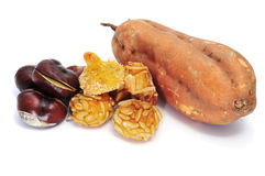 Chestnuts, panellets and sweet potato Stock Images