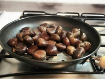 Chestnuts placed in the pan royalty free stock images