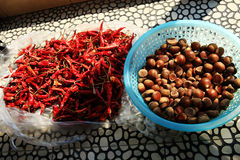 Chestnuts and red chili Stock Image