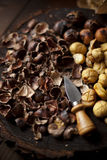 Chestnuts Roasted and Peeled on a Wooden Slab Stock Photography