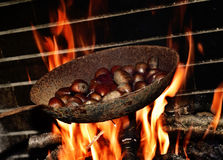 Chestnuts roasting in the flames of a log fire Stock Photography