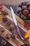 Chestnuts on Rustic Wood Table Royalty Free Stock Image