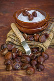 Chestnuts in salt just to eat Royalty Free Stock Image