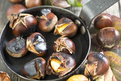 Chestnuts in a skillet. Royalty Free Stock Image