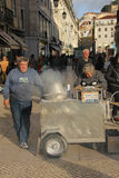 Chestnuts street seller. Lisbon. Portugal Royalty Free Stock Image